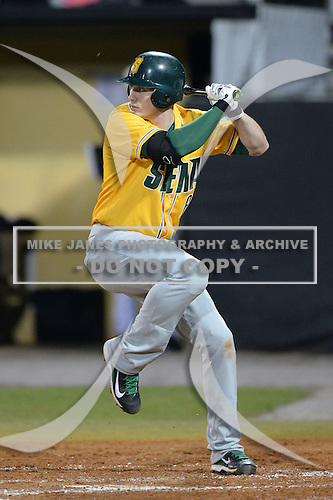 Siena Saints first baseman Vincent Citro (6) during the season opening game against the Central Florida Knights at Jay Bergman Field on February 14, 2014 in Orlando, Florida.  UCF defeated Siena 8-1.  (Copyright Mike Janes Photography)