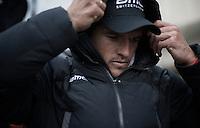after the podium ceremony Greg Van Avermaet (BEL/BMC) hid in an oversized 'bubble' jacket to get warm again<br /> <br /> 71st Omloop Het Nieuwsblad 2016