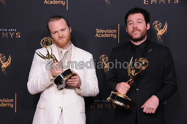 10 September  2017 - Los Angeles, California - Michael Stein, Kyle Dixon. 2017 Creative Arts Emmys - Press Room held at Microsoft Theatre L.A. Live in Los Angeles. Photo Credit: Birdie Thompson/AdMedia
