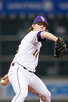 LSU Tigers pitcher Jared Poche (16) delivers a pitch to the plate during the NCAA baseball game against the Houston Cougars on March 6, 2015 at Minute Maid Park in Houston, Texas. LSU defeated Houston 4-2. (Andrew Woolley/Four Seam Images)