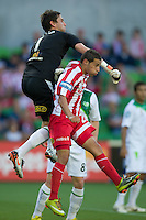 MELBOURNE, AUSTRALIA - January 2:  Justin Pasfield of the Fury punches the ball during the round 21 A-League match between Melbourne Heart and North Queensland Fury at AAMI Park on January 2, 2011 in Melbourne, Australia. (Photo by Sydney Low / Asterisk Images)
