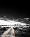 Lonely black and white road leading in to the Arizona desert