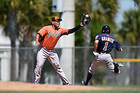 Baltimore Orioles Carlos Diaz (55) stretches for a throw as Zach Granite (1) runs through the bag during a minor league spring training game against the Minnesota Twins on March 28, 2015 at the Buck O'Neil Complex in Sarasota, Florida.  (Mike Janes/Four Seam Images)