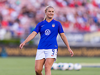 PASADENA, CA - AUGUST 4: Lindsey Horan #9 warms up during a game between Ireland and USWNT at Rose Bowl on August 3, 2019 in Pasadena, California.