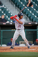 Syracuse Chiefs catcher Pedro Severino (29) bats during a game against the Buffalo Bisons on May 18, 2017 at Coca-Cola Field in Buffalo, New York.  Buffalo defeated Syracuse 4-3.  (Mike Janes/Four Seam Images)