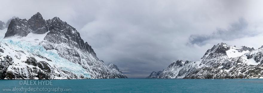 Drygalski Fjord, South Georgia. November. Digitally stitched panoramic image.