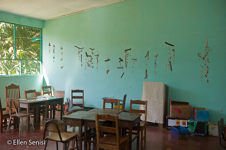 Guanacaste, Costa Rica.Santa Marta School.Desks and chairs in empty classroom..© Ellen B. Senisi