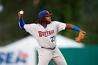 Buffalo Bisons third baseman Vladimir Guerrero Jr. (27) warmup throw to first during a game against the Syracuse Chiefs on September 2, 2018 at NBT Bank Stadium in Syracuse, New York.  Syracuse defeated Buffalo 4-3.  (Mike Janes/Four Seam Images)