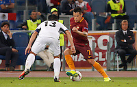 Calcio, Europa League: Roma vs Astra Giurgiu. Roma, stadio Olimpico, 29 settembre 2016.<br /> Roma's Juan Iturbe, right, is challenged by Astra Giurgiu's Junior Morais during the Europa League Group E soccer match between Roma and Astra Giurgiu at Rome's Olympic stadium, 29 September 2016. Roma won 4-0.<br /> UPDATE IMAGES PRESS/Riccardo De Luca
