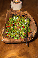 Bali, Indonesia.  Greenbeans and Chilis as a Dinner vegetable Dish.