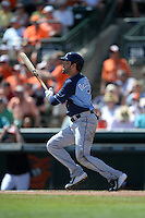 Tampa Bay Rays outfielder David DeJesus (7) during a Spring Training game against the Baltimore Orioles on March 14, 2015 at Ed Smith Stadium in Sarasota, Florida.  Tampa Bay defeated Baltimore 3-2.  (Mike Janes/Four Seam Images)