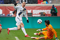 Bridgeview, IL - Saturday April 14, 2018: Zlatan Ibrahimovic, Richard Sanchez during a regular season Major League Soccer (MLS) match between the Chicago Fire and the LA Galaxy at Toyota Park.  The LA Galaxy defeated the Chicago Fire by the score of 1-0.
