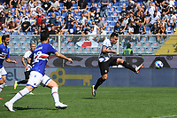 Lautaro Martinez of FC Internazionale scores the goal of 1-2 during the Serie A football match between UC Sampdoria and FC Internazionale at stadio Marassi in Genova (Italy), September 12th, 2021. Photo Image Sport / Insidefoto