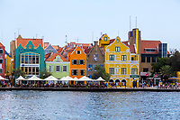 Willemstad, Curacao, Lesser Antilles.  Dutch Architecture and Sidewalk cafe in Punda.