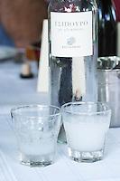 Glass of tsipouro. Kir-Yianni Winery, Yianakohori, Naoussa, Macedonia, Greece