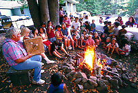 Yurok Tribal Storyteller and audience, Klamath,CA.