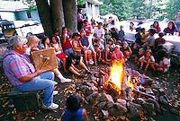 Yurok Tribal Storyteller and audience, Klamath,CA.