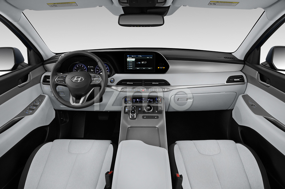 Stock photo of straight dashboard view of a 2020 Hyundai Palisade SEL 5 Door SUV