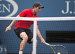 Adrian Mannarino (FRA) takes the first set from Andy Murray (GBR) 7-5 at the US Open in Flushing, NY on September 3, 2015.