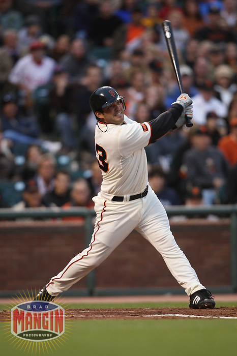 SAN FRANCISCO - JULY 31:  Ryan Garko of the San Francisco Giants bats against the Philadelphia Phillies during the game at AT&T Park on July 31, 2009 in San Francisco, California. The Phillies beat the Giants 5-1. Photo by Brad Mangin