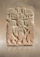 Pictures & images of the North Gate Hittite sculpture stele depicting man with wolves. 8the century BC.  Karatepe Aslantas Open-Air Museum (Karatepe-Aslantaş Açık Hava Müzesi), Osmaniye Province, Turkey. Against art background