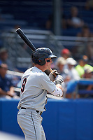 Tri-City ValleyCats catcher Michael Papierski (9) on deck during a game against the Batavia Muckdogs on July 16, 2017 at Dwyer Stadium in Batavia, New York.  Tri-City defeated Batavia 13-8.  (Mike Janes/Four Seam Images)