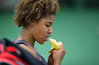 Rotterdam, The Netherlands, March 13, 2016,  TV Victoria, NOJK 12/16 years, Noa Liauw-A-Fong (NED) eats a banana<br /> Photo: Tennisimages/Henk Koster
