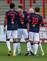 Bolton Wanderers' Ali Crawford (2nd right)  celebrates scoring his side's second goal with team mates  <br /> <br /> Photographer Andrew Kearns/CameraSport<br /> <br /> The EFL Sky Bet League Two - Stevenage v Bolton Wanderers - Saturday 21st November 2020 - Lamex Stadium - Stevenage<br /> <br /> World Copyright © 2020 CameraSport. All rights reserved. 43 Linden Ave. Countesthorpe. Leicester. England. LE8 5PG - Tel: +44 (0) 116 277 4147 - admin@camerasport.com - www.camerasport.com