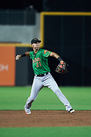 Down East Wood Ducks shortstop Diosbel Arias (21) throws to first base during a Carolina League game against the Fayetteville Woodpeckers on August 13, 2019 at SEGRA Stadium in Fayetteville, North Carolina.  Fayetteville defeated Down East 5-3.  (Mike Janes/Four Seam Images)