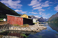 Waterfront building in the scattered town of Fjaerland in the Sogn district of Fjordland, Norwa