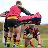 Dave WARD (16) of Ampthill (right) during the Greene King IPA Championship match between Ampthill RUFC and Jersey Reds at Dillingham Park, Ampthill, England on 1 May 2021. Photo by David Horn.