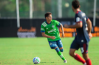 LAKE BUENA VISTA, FL - JULY 14: Shandon Hopeau #37 of the Seattle Sounders dribbling the ball during a game between Seattle Sounders FC and Chicago Fire at Wide World of Sports on July 14, 2020 in Lake Buena Vista, Florida.