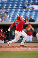 Clearwater Threshers catcher Deivi Grullon (13) follows through on a swing during a game against the Palm Beach Cardinals on April 14, 2017 at Spectrum Field in Clearwater, Florida.  Clearwater defeated Palm Beach 6-2.  (Mike Janes/Four Seam Images)