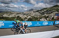 teammates World Champion Alejandro Valverde (ESP/Movistar) & Green Jersey Nairo Quintana (COL/Movistar) sprinting it out at the finish after climbing the extremely brutal Alto de los Machucos <br /> <br /> Stage 13: Bilbao to Los Machucos / Monumento Vaca Pasiega (166km)<br /> La Vuelta 2019<br /> <br /> ©kramon