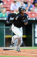 Syracuse Chiefs outfielder Destin Hood (7) runs to first during a game against the Buffalo Bisons on July 23, 2014 at Coca-Cola Field in Buffalo, New  York.  Syracuse defeated Buffalo 5-0.  (Mike Janes/Four Seam Images)