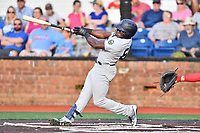Pulaski Yankees right fielder Jordan Scott (66) swings at a pitch during a game against the Johnson City Cardinals at TVA Credit Union Ballpark on July 7, 2018 in Johnson City, Tennessee. The Cardinals defeated the Yankees 7-3. (Tony Farlow/Four Seam Images)