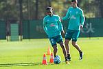 13.10.2020, Trainingsgelaende am wohninvest WESERSTADION - Platz 12, Bremen, GER, 1.FBL, Werder Bremen Training<br /> <br /> Tahith Chong (Werder Bremen #22)<br /> Pattrick Erras (Werder Bremen Neuzugang 29<br />  ,Ball am Fuss, <br /> Querformat<br /> <br /> <br /> <br /> Foto © nordphoto / Kokenge