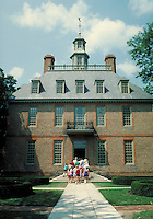 tourists entering Governor's Palace at Williamsburg historic site. tourists. Williamsburg Virginia USA.