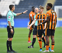 Hull City's Keane Lewis-Potter and Mallik Wilks have words with Referee Ben Toner at half time<br /> <br /> Photographer Dave Howarth/CameraSport<br /> <br /> The EFL Sky Bet League One - Hull City v Crewe Alexandra - Saturday 19th September 2020 - KCOM Stadium - Kingston upon Hull<br /> <br /> World Copyright © 2020 CameraSport. All rights reserved. 43 Linden Ave. Countesthorpe. Leicester. England. LE8 5PG - Tel: +44 (0) 116 277 4147 - admin@camerasport.com - www.camerasport.com