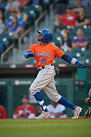 Syracuse Mets Rajai Davis (21) at bat during an International League game against the Buffalo Bisons on June 29, 2019 at Sahlen Field in Buffalo, New York.  Buffalo defeated Syracuse 9-3.  (Mike Janes/Four Seam Images)