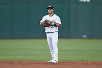 Charlotte Knights second baseman Nick Madrigal (3) on defense against the Scranton/Wilkes-Barre RailRiders at BB&T BallPark on August 13, 2019 in Charlotte, North Carolina. The Knights defeated the RailRiders 15-1. (Brian Westerholt/Four Seam Images)