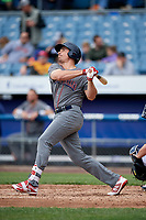 Lehigh Valley IronPigs pinch hitter Matt McBride (30) follows through on a swing during a game against the Syracuse Chiefs on May 20, 2018 at NBT Bank Stadium in Syracuse, New York.  Lehigh Valley defeated Syracuse 5-2.  (Mike Janes/Four Seam Images)