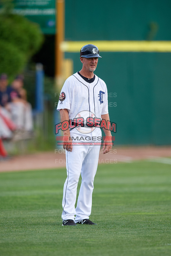 Connecticut Tigers manager Gary Cathcart (23) during a game against the Lowell Spinners on August 26, 2018 at Dodd Stadium in Norwich, Connecticut.  Connecticut defeated Lowell 11-3.  (Mike Janes/Four Seam Images)