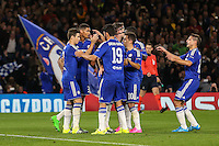 Oscar of Chelsea (left) celebrates after he scores his team's second goal against Maccabi Tel-Aviv to make it 2-0 during the UEFA Champions League match between Chelsea and Maccabi Tel Aviv at Stamford Bridge, London, England on 16 September 2015. Photo by David Horn.