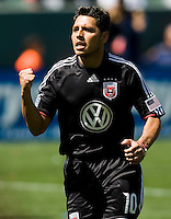 DC United's Christian Gomez celebrates his goal after scoring a pk putting United in the lead. The LA Galaxy and DC United play to 2-2 draw at Home Depot Center stadium in Carson, California on Sunday March 22, 2009.
