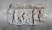 Roman relief sculpture of the Dionysus Festival. Roman 2nd century AD, Hierapolis Theatre.. Hierapolis Archaeology Museum, Turkey