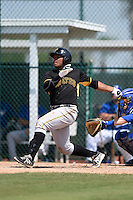 Pittsburgh Pirates Edwin Espinal (76) during a minor league spring training game against the Toronto Blue Jays on March 21, 2015 at Pirate City in Bradenton, Florida.  (Mike Janes/Four Seam Images)