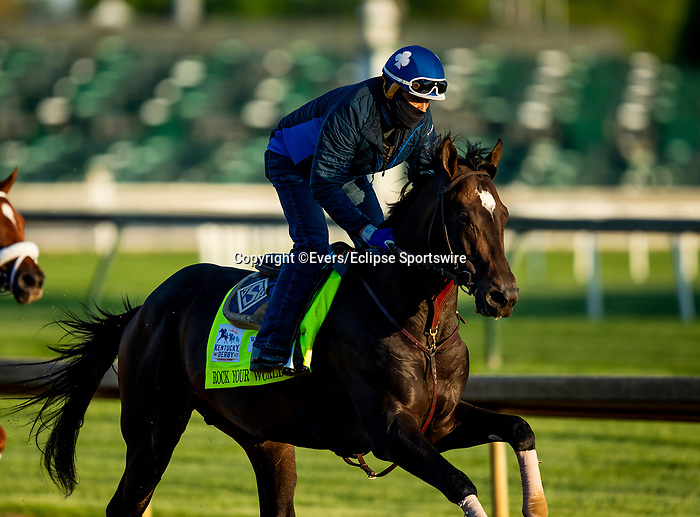 April 27, 2021: Rock Your World gallops in preparation for the Kentucky Derby at Churchill Downs in Louisville, Kentucky on April 27, 2021. EversEclipse Sportswire/CSM