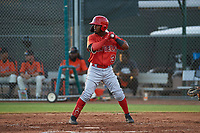 AZL Angels Kendy Moya (3) at bat during a game against the AZL Giants Orange at Giants Baseball Complex on June 17, 2019 in Scottsdale, Arizona. AZL Giants Orange defeated AZL Angels 8-4. (Zachary Lucy/Four Seam Images)