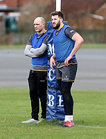 16th February 2021;  Matt Faddes and Stuart McCloskey  during an Ulster Rugby squad pitch session held at Pirrie Park, Belfast, Northern Ireland. Photo by John Dickson/Dicksondigital